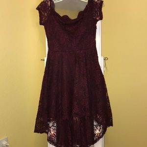 High low formal maroon lace dress